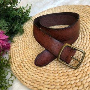 Genuine leather floral print boho belt Medium